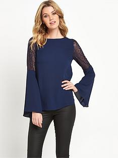 v-by-very-lace-insert-fluted-sleeve-top