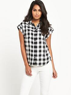 v-by-very-cap-sleeve-gingham-shirtnbsp