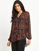Tie Neck Printed Blouse