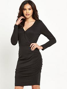 lipsy-long-sleeve-wrap-dress