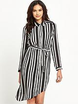 Mono Long Sleeve Belted Shirt Dress