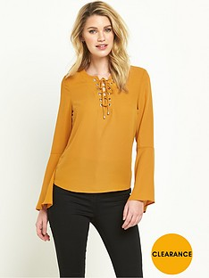 v-by-very-eyelet-fluted-sleeve-blouse