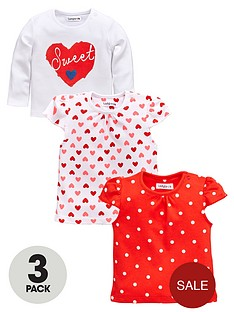 ladybird-baby-girls-heart-print-short-and-long-t-shirts-3-pack
