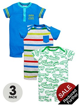 ladybird-baby-boys-croc-and-stripe-rompers-3-pack