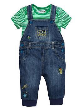 ladybird-baby-boys-stripe-t-shirt-and-denim-dungarees-set-2-piece