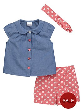 ladybird-girls-cute-chambray-shirt-spotty-shorts-and-headband-set-3-piece