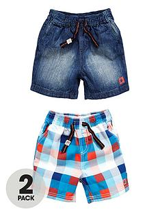 ladybird-boys-denim-and-check-woven-shorts-2-pack
