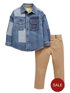 ladybird-boys-denim-patch-shirt-and-chino-pants-set-2-piece