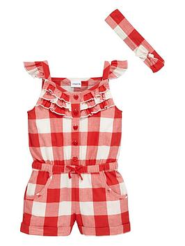 ladybird-girls-large-red-gingham-frilly-playsuit-with-headband-set