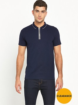 v-by-very-short-sleeve-zip-collar-polo-top