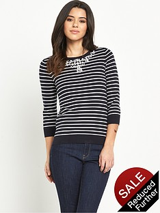 oasis-embellished-necklace-striped-jumper