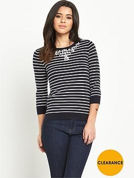 oasis-embellished-necklace-striped-jumper