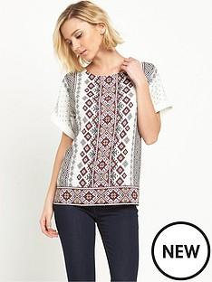 oasis-oasis-emb-print-linen-mix-t-shirt