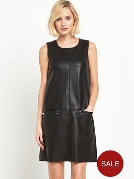 warehouse-popper-detail-faux-leather-dress