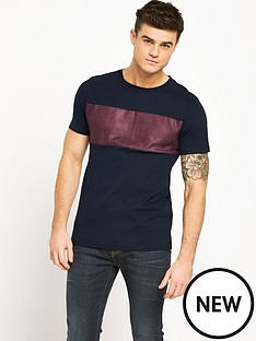 river-island-suede-panel-mens-t-shirt