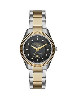 armani-exchange-black-dial-and-two-tone