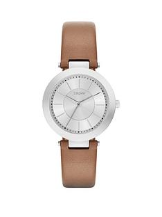 dkny-dkny-stanhope-20-silver-dial-with-tan-leather-strap-ladies-watch