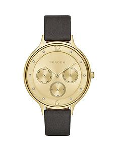 skagen-skagen-anita-gold-multifunction-dial-black-leather-strap-ladies-watch