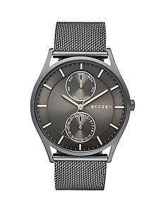 skagen-skagen-holst-multifunction-grey-dial-gunmetal-stainless-steel-mesh-mens-watch