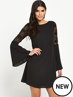 v-by-very-lace-panel-fluted-sleeve-dress