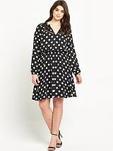 PRINT LACE INSERT LONG SLEEVE DRESS