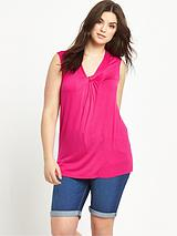 Gathered V-neck Sleeveless Jersey Top