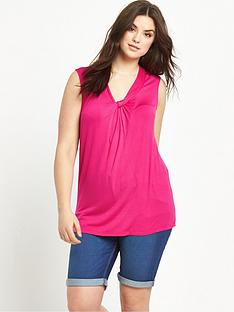 so-fabulous-gathered-v-neck-sleeveless-jersey-top