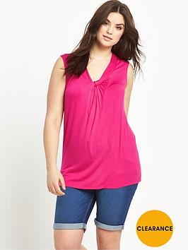 so-fabulous-gathered-v-neck-sleeveless-jersey-top