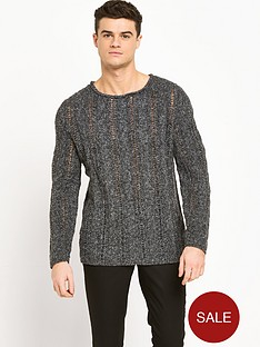 river-island-brushed-cable-knit-mens-jumper