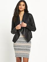 Waterfall PU Biker Jacket