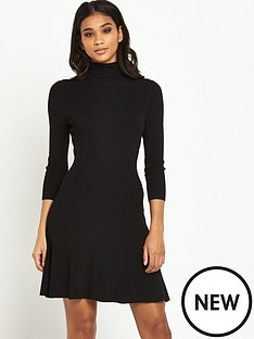 miss-selfridge-roll-neck-fit-amp-flare-dress