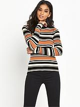 Block Stripe Rib Roll Neck
