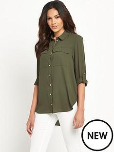 miss-selfridge-miss-selfridge-khaki-longline-drape-blouse
