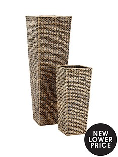 set-of-2-medium-sized-arrow-weave-vases-with-square-base-grey