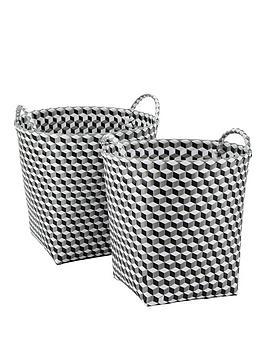 set-of-2-round-baskets-black