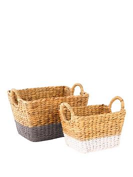 set-of-2-water-hyacinth-baskets-with-coloured-border-greywhite