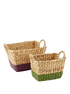 set-of-2-water-hyacinth-baskets-with-coloured-border-purplegreen
