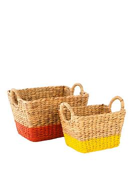 set-of-2-water-hyacinth-baskets-with-coloured-border-orangeyellow