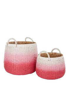 set-of-2-dip-dyed-storage-baskets-pink
