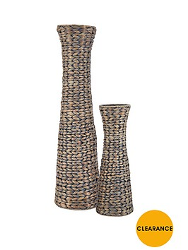 set-of-2-water-hyacinth-conical-shaped-vases-grey