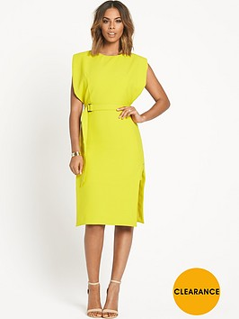 rochelle-humes-belted-double-layer-dress