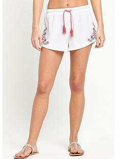 mink-pink-embroidered-beach-tassel-shorts