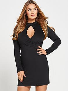 samantha-faiers-high-neck-long-sleeve-cut-out-bodycon-dressnbsp