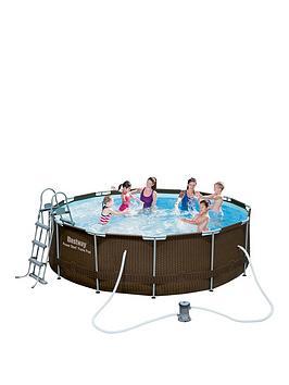 bestway-12ft-rattan-frame-pool-set