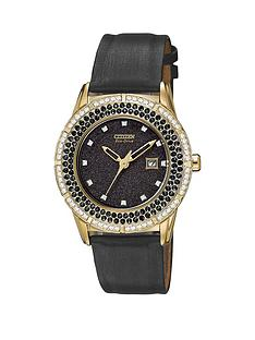 citizen-eco-drive-ttg-black-dial-swarovski-crystal-set-satin-strap-ladies-watch