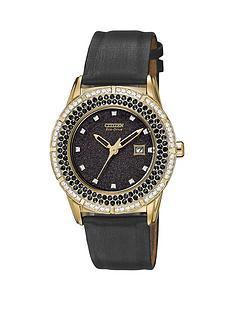 citizen-eco-drive-ttg-black-dial-swarovski-crystal-set-satin-strap-ladies-watch