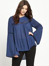 Bell Sleeve Crochet Lace Insert Blouse