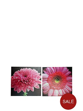 arthouse-set-of-2-bright-pink-floral-canvases
