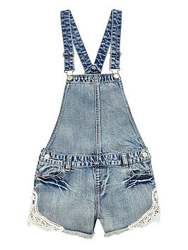 V By Very Girls Denim Dungarees With Crochet Detail