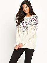 Fringe Yoke Oversized Jumper